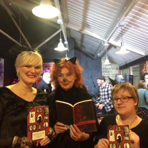 Emma and I with Moira Conway at the launch of Blood from the Quill